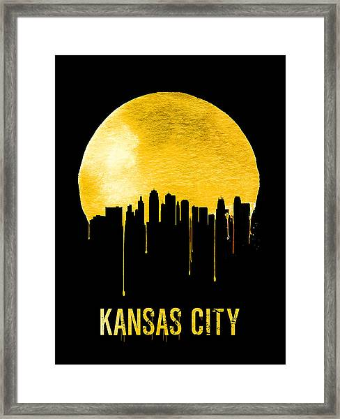 Kansas City Skyline Yellow Framed Print