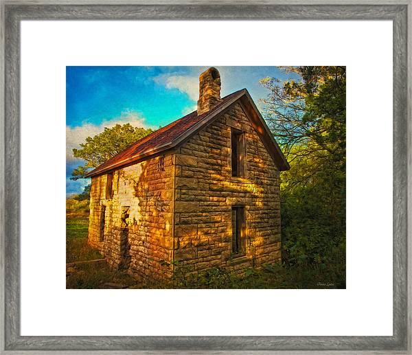 Kansas Countryside Stone House Framed Print