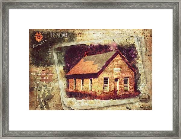 Kansas Old Stone Schoolhouse Framed Print