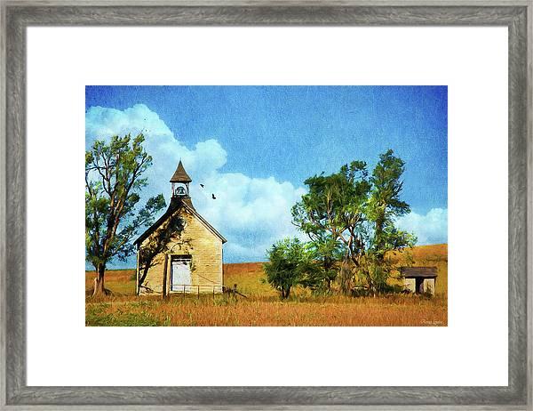 Kansas Prairie Schoolhouse Framed Print