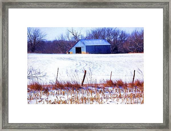 Kansas Winter Field Barn 1 Framed Print