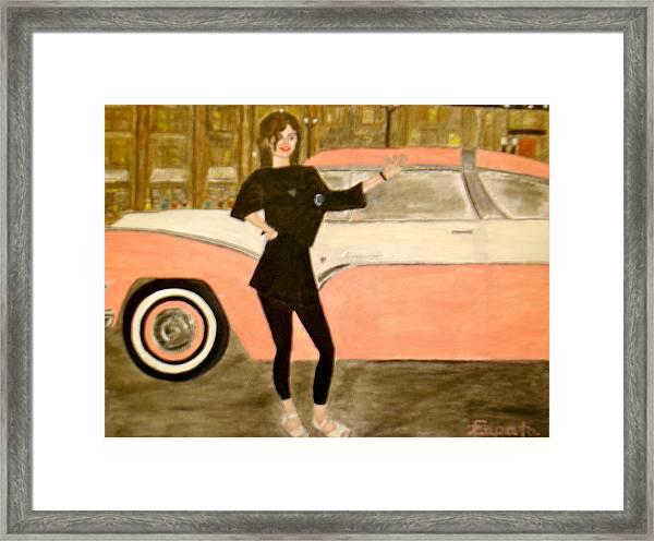 karen-Model in black with pink car Framed Print