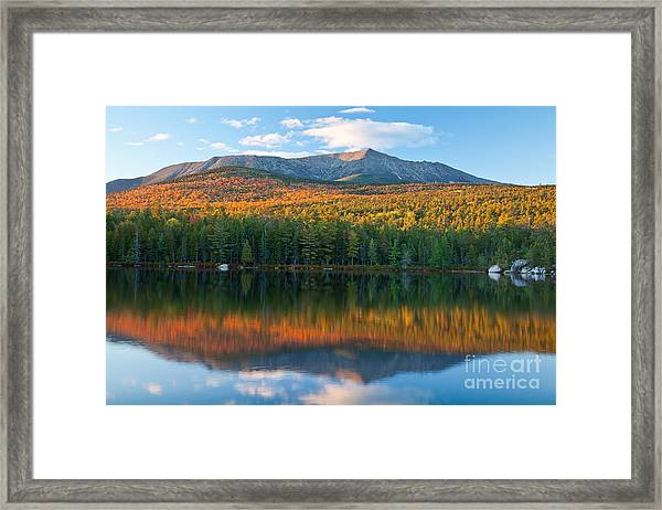 Framed Print featuring the photograph Katahdin Glow by Susan Cole Kelly