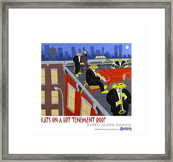 Kats On A Hot Tenement Roof Framed Print