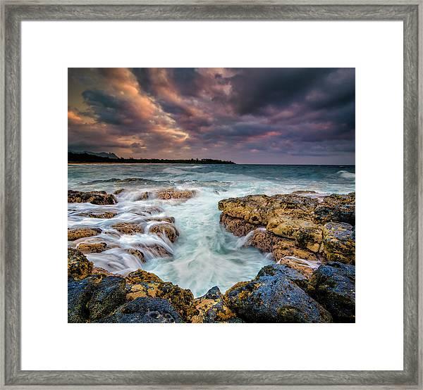 Kauai Ocean Rush Framed Print