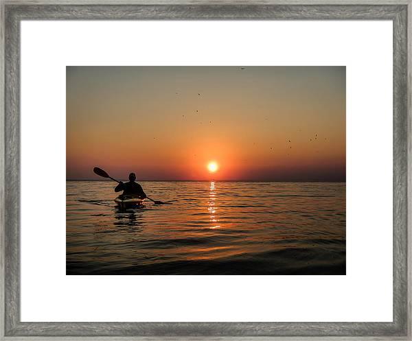 Kayak At Sunset Framed Print