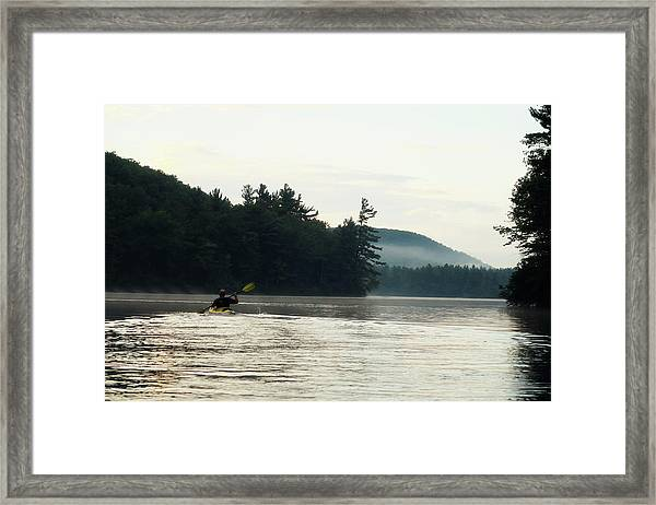 Kayak In The Fog Framed Print