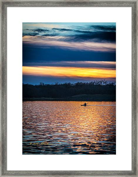 Kayak Sunset Framed Print