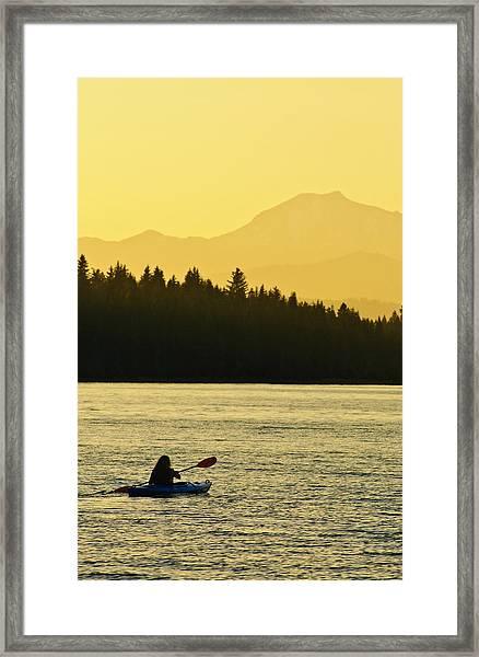 Kayaking Lake Almanor Framed Print