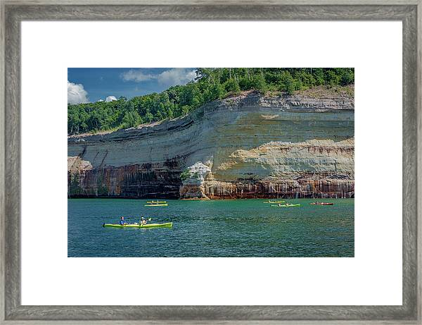 Kayaking The Pictured Rocks Framed Print