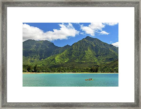 Kayaks In Hanalei Bay Framed Print