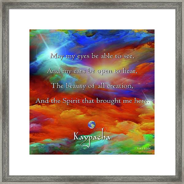 Kaypacha August 17,2016 Framed Print