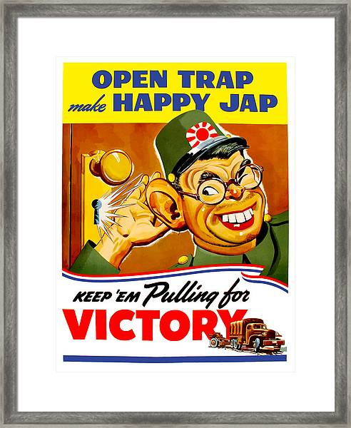 Keep Em Pulling For Victory - Ww2 Framed Print