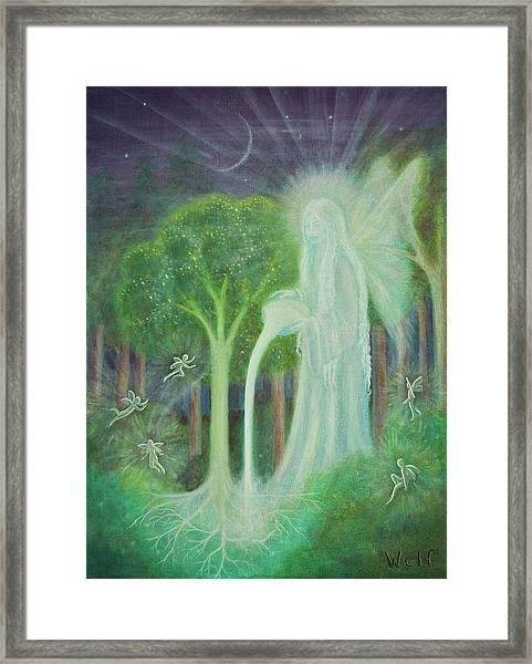 Keeper Of The Trees Framed Print by Bernadette Wulf