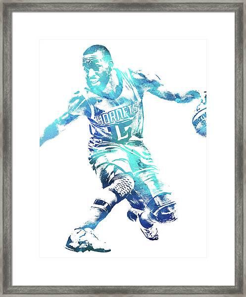 Kemba Walker Charlotte Hornets Water Color Pixel Art 1 Framed Print