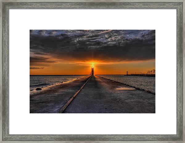 Kenosha Lighthouse Beacon Framed Print