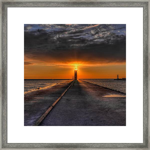 Kenosha Lighthouse Beacon Square Framed Print