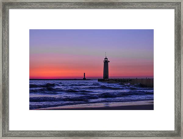 Kenosha Lighthouse Blue Waves Framed Print