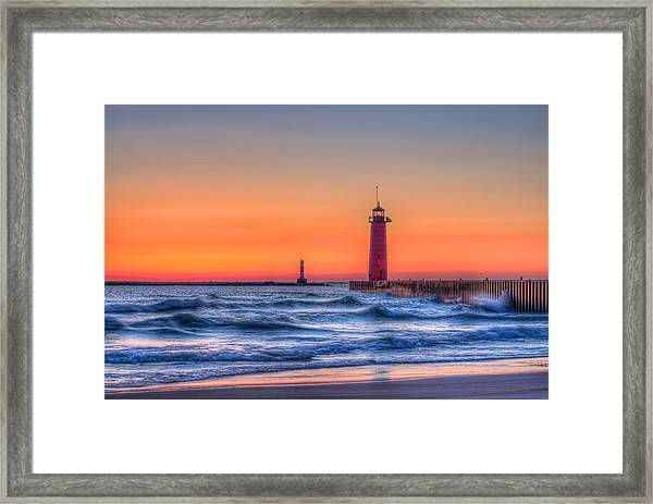 Kenosha Lighthouse Dawn Framed Print