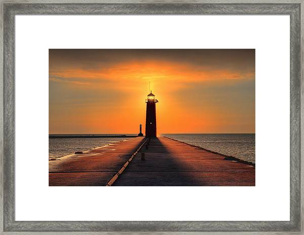 Kenosha Lighthouse Shining Light Framed Print