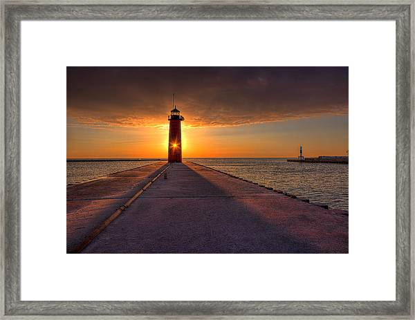 Kenosha Lighthouse Sunrise Framed Print