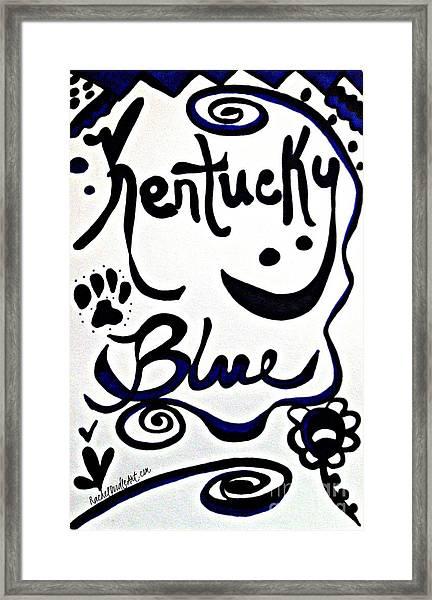 Framed Print featuring the drawing Kentucky Blue by Rachel Maynard