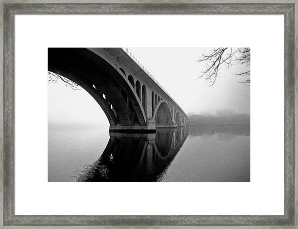 Key Bridge In Fog Framed Print