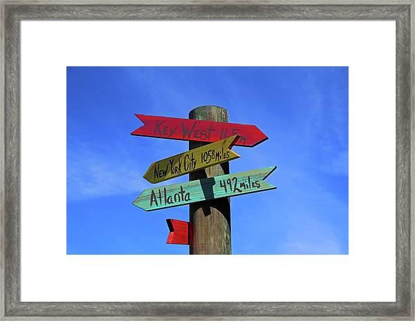 Key West 165 Miles Framed Print