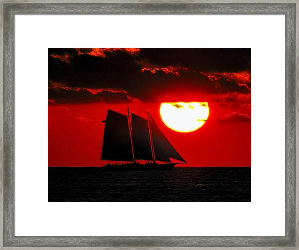Framed Print featuring the photograph Key West Sunset Sail Silhouette by Bob Slitzan