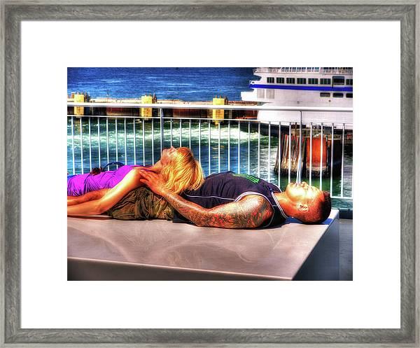 Kickin Back On The Ferry Framed Print