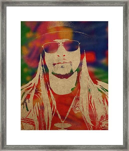 Kid Rock Watercolor Portrait Framed Print