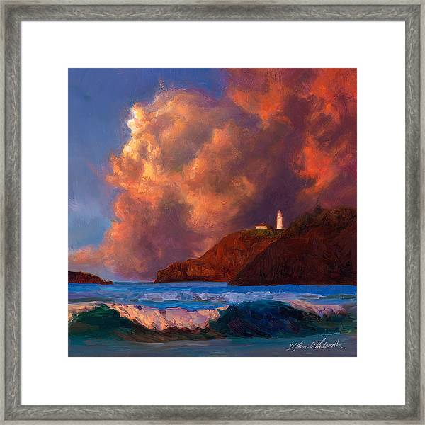 Kilauea Lighthouse - Hawaiian Cliffs Sunset Seascape And Clouds Framed Print
