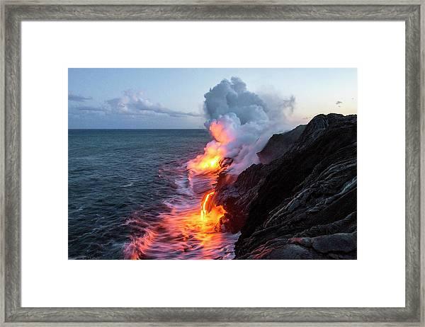 Kilauea Volcano Lava Flow Sea Entry 3- The Big Island Hawaii Framed Print