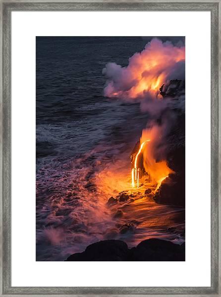 Kilauea Volcano Lava Flow Sea Entry 6 - The Big Island Hawaii Framed Print