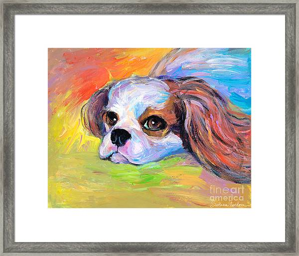 King Charles Cavalier Spaniel Dog Painting Framed Print