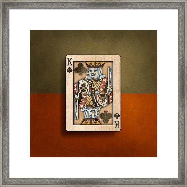 King Of Clubs In Wood Framed Print