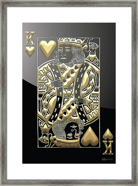 King Of Hearts In Gold On Black Framed Print
