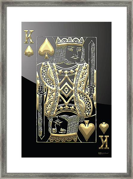 King Of Spades In Gold On Black   Framed Print