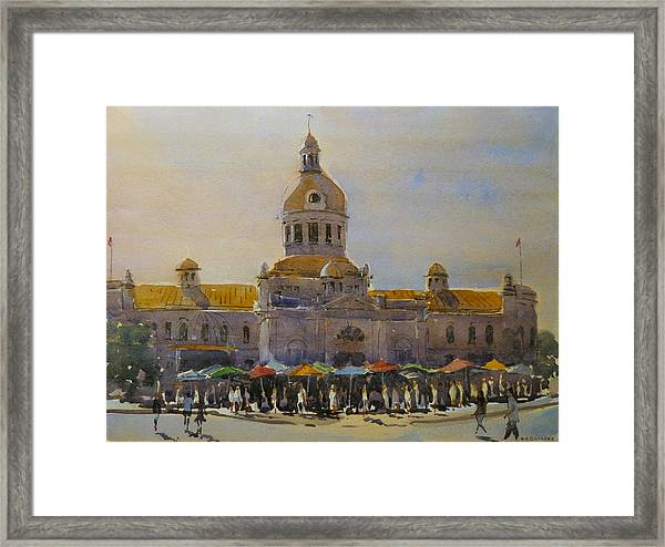 Kingston-city Hall Market Morning Framed Print