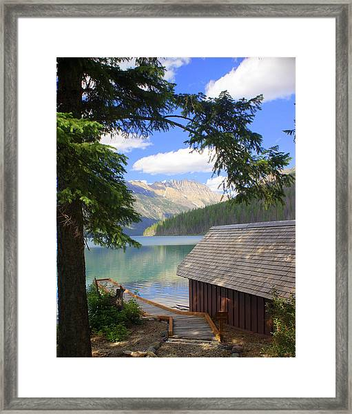 Kintla Lake Ranger Station Glacier National Park Framed Print