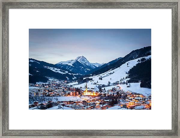 Kirchberg Austria In The Evening Framed Print