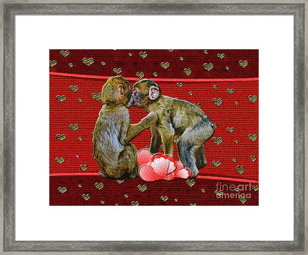 Kissing Chimpanzees Hearts Framed Print