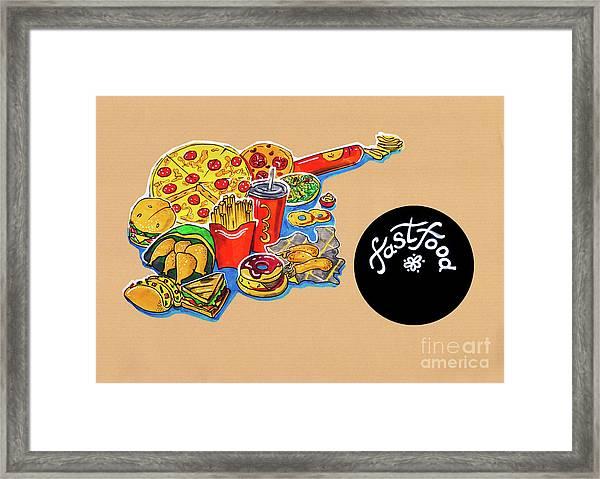 Kitchen Illustration Of Menu Of Fast Food  Framed Print