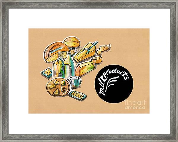 Kitchen Illustration Of Menu Of Milk Products  Framed Print
