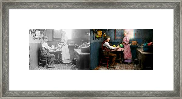 Kitchen - Morning Coffee 1915 - Side By Side Framed Print