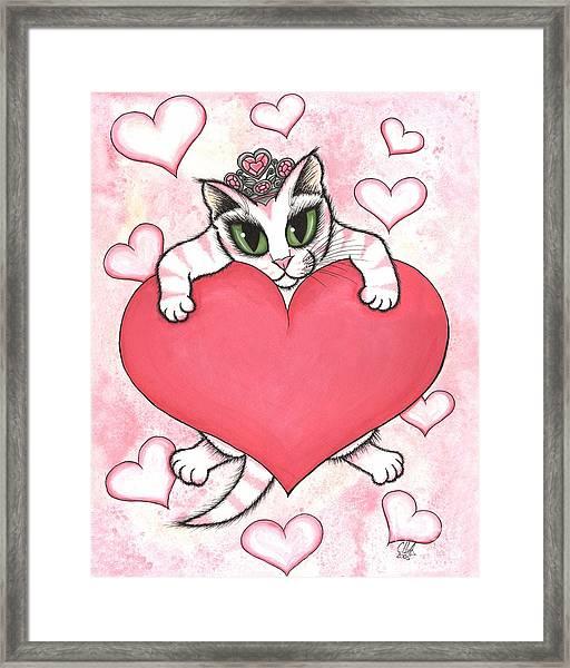Kitten With Heart Framed Print