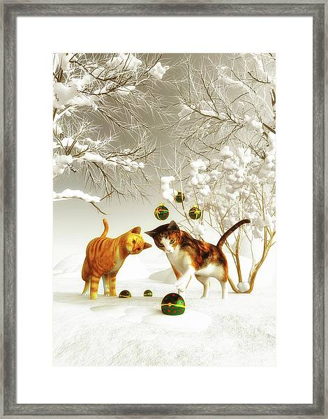 Framed Print featuring the painting Kittens At Christmas by Jan Keteleer