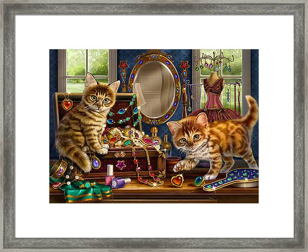 Kittens With Jewelry Box Framed Print