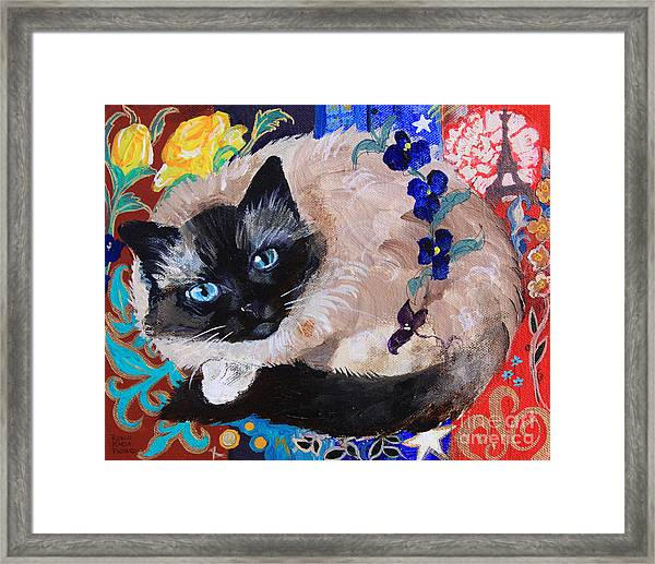 Kitty Goes To Paris Framed Print