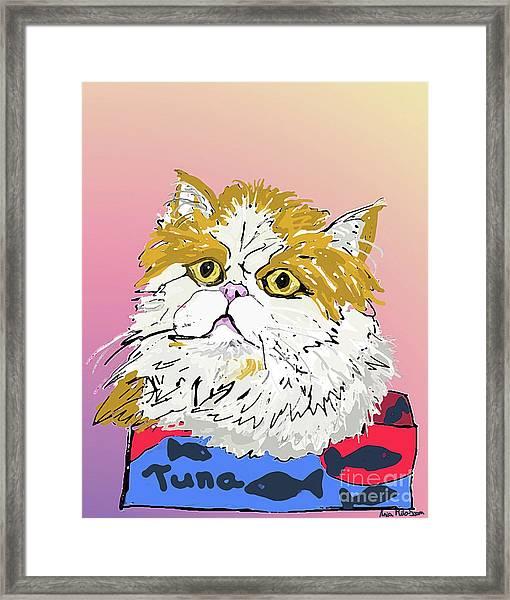 Kitty In Tuna Can Framed Print